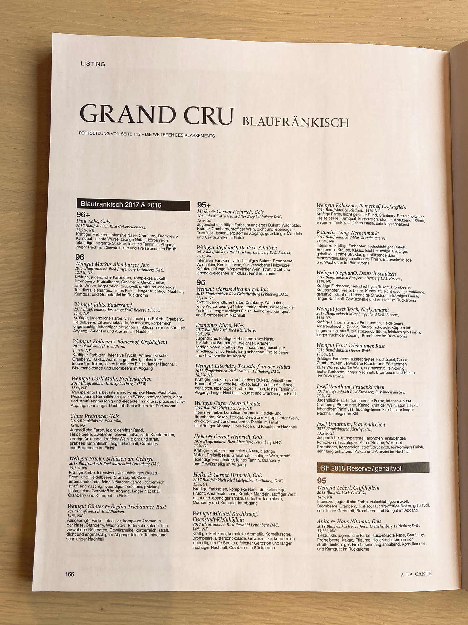 A la Carte Grand Cru Verkostung Blaufränkisch
